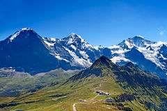 Mounts Eiger, Moench and Jungfrau Stock Image