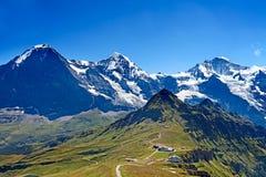 Mounts Eiger, Moench and Jungfrau. In the Jungfrau region stock image