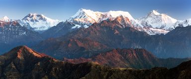 Mounts Everest Lhotse and Makalu, great himalayan range Royalty Free Stock Photo