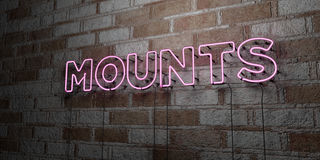 MOUNTS - Glowing Neon Sign on stonework wall - 3D rendered royalty free stock illustration. Can be used for online banner ads and direct mailers Royalty Free Stock Photography