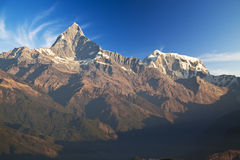 Mounts Machhapuchhre and Annapurna III at Dawn Royalty Free Stock Photo