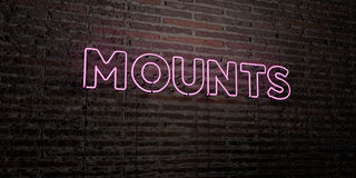MOUNTS -Realistic Neon Sign on Brick Wall background - 3D rendered royalty free stock image Royalty Free Stock Images