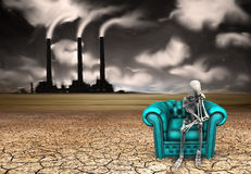 Mourn. Skeletal figure ponders before dystopic landscape Royalty Free Stock Image