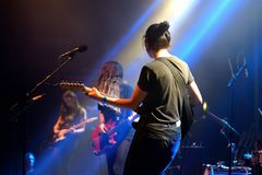 Mourn band performs at Apolo venue. BARCELONA - FEB 8: Mourn band performs at Apolo venue on February 8, 2015 in Barcelona, Spain Royalty Free Stock Images