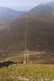 Mourne墙壁, Slieve Donnard山,新堡,北爱尔兰 库存照片