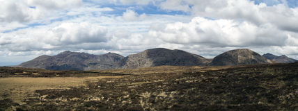 The mourne mountains panorama. A panoramic photo of the mourne mountains in ireland Royalty Free Stock Photos
