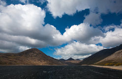 Mourne Mountains and Silent Valley. A view from the Silent Valley and the Silent Valley reservoir with the Mourne Mountains in the background in County Down in royalty free stock image