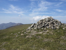 The mourne mountains. Summit cairn on slieve commedagh the second highest mountain in the mournes ireland Stock Photo