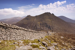The Mourne Wall in the Mourne Mountains in Northern Ireland Royalty Free Stock Photography
