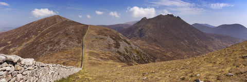 The Mourne Wall in the Mourne Mountains in Northern Ireland Stock Photography