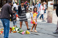 Mourners Gather for Mandela Stock Images