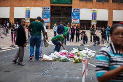 Mourners Gather for Mandela Stock Photo