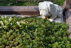 Mournful stone bulldog watches over a grave in Bucharest, Romani Stock Photography