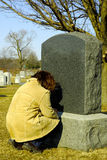 Mourning 3. Person Mourning at a Cemetery royalty free stock photography