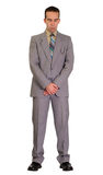 Mourning. Full length view of a man wearing a suit in mourning, isolated against a white background Royalty Free Stock Images