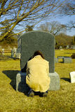 Mourning. Person Mourning at a Grave Royalty Free Stock Image