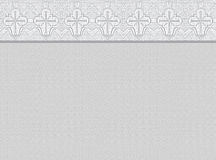Mourning background with ornamental border. Light grey background with ornamental border, made of christian cross symbols, copy space Stock Images