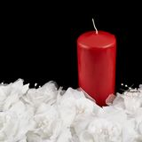 Mourning candle and roses composition Royalty Free Stock Images