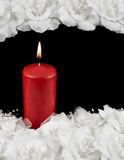 Mourning candle and roses composition Stock Photos