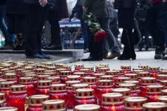 Mourning candles on the street near the funeral of Boris Nemtsov Royalty Free Stock Photo