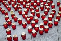 Mourning candles on the street near the funeral of Boris Nemtsov Royalty Free Stock Photography