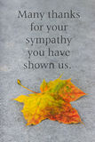 Mourning card. English mourning card with autumn leaves Stock Photo