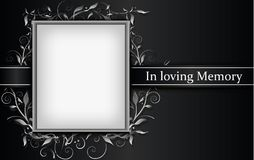 Mourning card with photo frame and 3d floral effect vector illustration