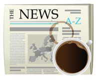 Mourning coffee and newspaper Royalty Free Stock Photography