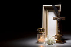 Mourning frame with crucifix, flower and candle Royalty Free Stock Image