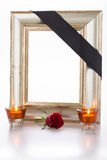 Mourning frame. With rose and candles Stock Photos