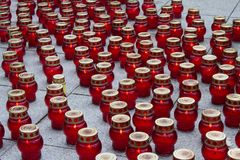 Mourning glass candle lanterns Stock Photography