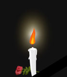 Mourning. Mourning figure white candle and flowers. Darkness and. Fire candles Stock Photography