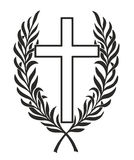 Mourning. Simplified cross entwined by a laurel wreath Stock Images
