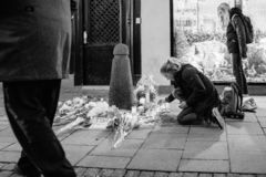 Mourning in Strasbourg people paying tribute to victims of Terro stock photo