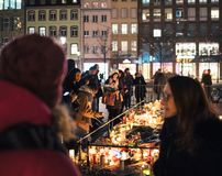 Mourning in Strasbourg people paying tribute to victims of Terro stock images
