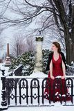 Mourning Teen Girl. Beautiful teen girl grieving in a snow covered cemetary Stock Photo