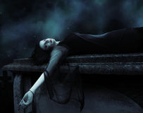 Female Vampire in Graveyard Royalty Free Stock Photos