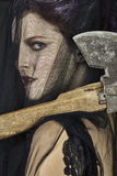 Mourning Widow with Axe - Close-up royalty free stock images