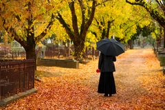 Mourning Woman in Fall Royalty Free Stock Photos