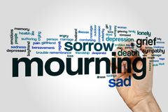 Mourning word cloud. Concept on grey background Stock Images