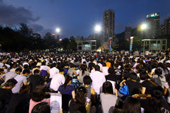 Mournment of the death in Tiananmen Square in 1989. HONG KONG - JUN 4, Tens of thousands of people packed Victoria Park with candles to mourn those who died in Royalty Free Stock Photography