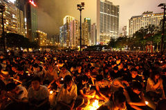 Mournment of the death in Tiananmen Square in 1989. HONG KONG - JUN 4, Tens of thousands of people packed Victoria Park with candles to mourn those who died in Royalty Free Stock Image