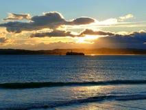 The Mouro Island lighthouse. At sunrise Stock Image