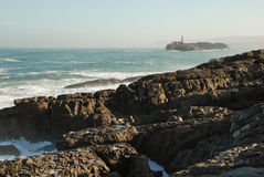Mouro island. From Magdalena peninsula. Santander, Spain Stock Photos