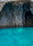 Mourtos sea cave on Greek coast, photographed from inside Royalty Free Stock Image