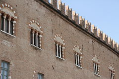 Mous medieval city centre Palace in Mantua. With facing bricks Royalty Free Stock Photo