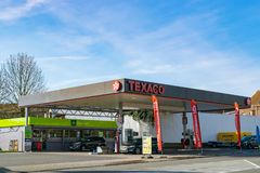 View of Texaco petrol stations. Mouscron,BELGIUM-March 24,2019: View of Texaco petrol stations.Texaco is an American oil subsidiary of Chevron Corporation royalty free stock photography
