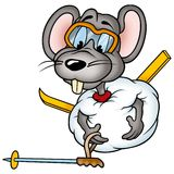 Mouse 02 skier. High detailed and coloured illustration Stock Images