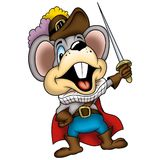 Mouse 05 swordsman. High detailed and coloured illustration Stock Photos