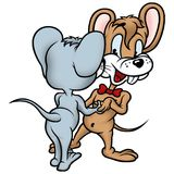 Mouse 09 dancers. High detailed and coloured illustration Stock Photos